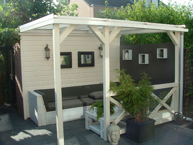 Losse Overkapping Tuin : Hout beton schutting vrijstaande terrasoverkapping